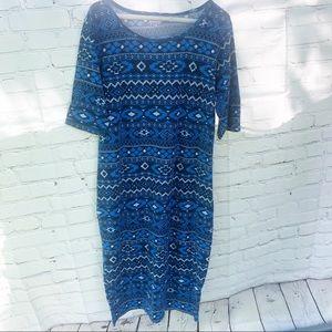 Lularoe Blue Print Dress XL